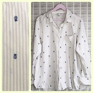 Old Navy Pineapple Striped Button Down